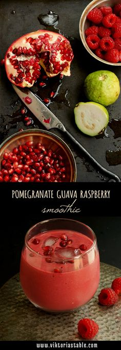 Pomegranate guava smoothie - pomegranate, raspberries, guava and coconut milk, blended together into a super refreshing, exotic tasting smoothie, chock full of vitamins, antioxidants, and healthy fats.| www.viktoriastable.com
