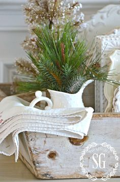 FRENCH INSPIRED CHRISTMAS IN THE DINING ROOM-chippy tool box with vintage linen-stonegableblog.com