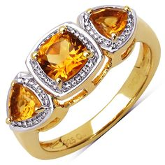 14K Yellow Gold Plated 1.05 Carat Genuine Madeira Citrine .925 Sterling Silver Ring
