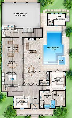 Key West Charmer with Art Studio - floor plan - Main Level U Shaped House Plans, U Shaped Houses, Pool House Plans, Dream House Plans, Florida House Plans, Florida Home, Florida Style, The Plan, How To Plan
