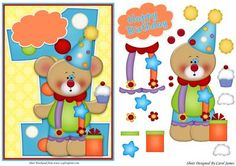 Card Front One Year Old Birthday Bear