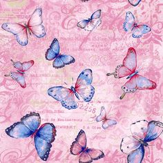 Vintage Butterflies Tossed Pink cotton fabric from by weiselect, $9.25