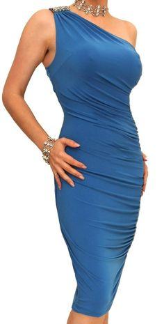 Blue Banana – Figure Hugging Diamante Dress.