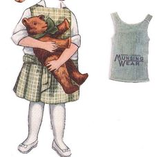 Miss Molly Munsing Advertising Paper Doll Outfit with Teddy Bear for Munsingwear c.1900-1920 <<>> 2 of 2