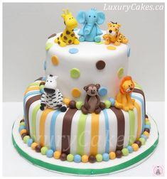 Animal themed Baby shower cake - cake by Sobi Thiru Idee Baby Shower, Shower Bebe, Baby Boy Shower, Baby Showers, Gateau Baby Shower, Baby Shower Cakes, Baby Shower Themes, Shower Ideas, Safari Baby Shower Cake