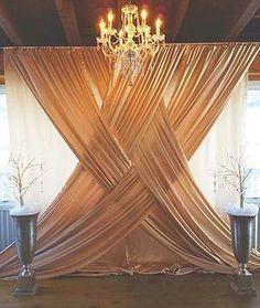 40 DIY wedding decor ideas - beautiful wedding decorations to make yourself - Hochzeitsdeko Ideen - Wedding Ceremony Backdrop, Wedding Venues, Wedding Ideas, Indoor Ceremony, Wedding Backdrops, Wedding Draping, Curtain Backdrop Wedding, Pipe And Drape Backdrop, Party Backdrops