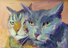 """Daily Paintworks - """"Chester and Bunny - Original Fine Art for Sale - © Sandy Lindblad Pet Grass, Raining Cats And Dogs, Fine Art Auctions, Small Paintings, Fine Art Gallery, Pet Portraits, Art For Sale, Cute Cats, Dog Cat"""