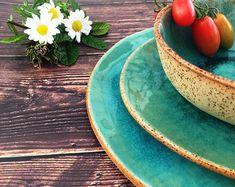 Rustic Dinnerware Dinnerware Set Handmade Pottery Pottery Dinnerware Ceramic Dinner Set Pottery Wedding Gift by VIBceramics Rustic Dinnerware, Stoneware Dinnerware Sets, Pottery Plates, Ceramic Plates, Ceramic Dinner Set, Handmade Pottery, Handmade Ceramic, Plates And Bowls, Blue Plates