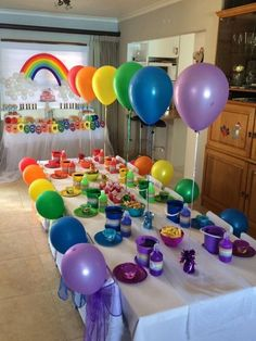 My daughter's Rainbow Balloon Party - -You can find Rainbow birthday and more on our website.My daughter's Rainbow Balloon Party - - 1st Birthday Party Themes, Trolls Birthday Party, Rainbow Birthday Party, Art Birthday, Unicorn Birthday Parties, Birthday Party Decorations, Rainbow Party Decorations, Rainbow Party Themes, Art Themed Party