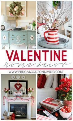 Valentine Home Decor Ideas on Frugal Coupon Living plus FREE Valentine\'s Day Printables and Kid\'s Food Crafts.
