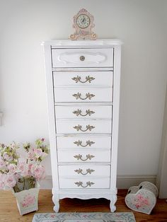 french provencal tall boy chest | Shabby Chic Dressers - Forever Pink