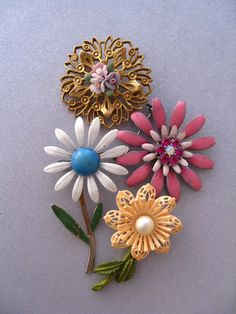 Vintage Flower Brooches by JeepersKeepers on Etsy, $27.00