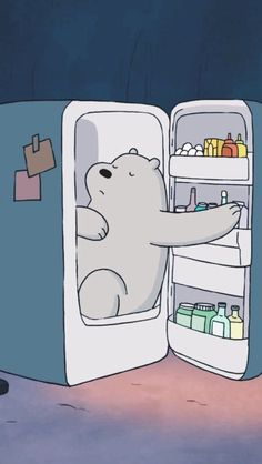 Ice Bear in fridge from We Bare Bears cartoon Phone lock screen wallpaper