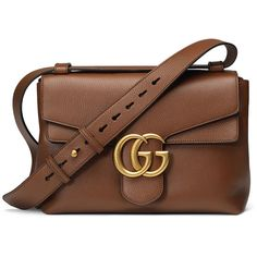 Gucci GG Marmont Medium Leather Shoulder Bag ($2,200) ❤ liked on Polyvore featuring bags, handbags, shoulder bags, purses, brown, shoulder handbags, purse shoulder bag, handbags purses, leather purse and man shoulder bag