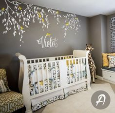 Branches Wall Decals Birds With Custom Name Tree Vinyl Wall Sticker Home Kids Bedroom Decor Falling Leaves Creative Mural - Project Nursery - Nursery Decoration Idea - Nursery Room Nursery Wall Decals, Wall Stickers Home, Nursery Room, Girl Nursery, Girl Room, Decals For Walls, Mural Wall, Bedroom Stickers, Wall Art