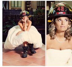 wedding with fireman wearing dress unifrom
