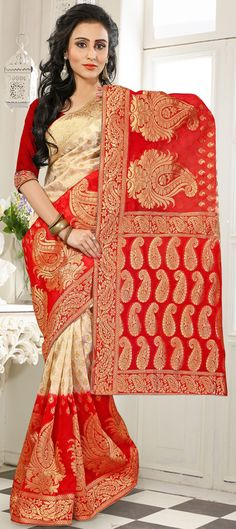 184859: Beige and Brown, Red and Maroon color family Party Wear Sarees, Silk Sarees with matching unstitched blouse.