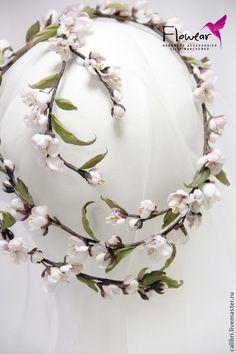"""Цветы ручной работы. Ярмарка Мастеров - ручная работа. Купить Цветы из шелка - """"Pink almond"""" - венок-веточка-трансформер. Handmade."""