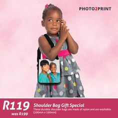 Gift Special: For only R119 you can create a personalised Shoulder Bag. Offer valid until 31 May 2016. #shoulderbag #gift #specail #photo2print