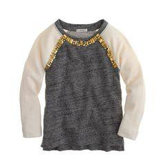 Girls' embellished baseball sweatshirt - fleece tops - Girl's knits & tees - J.Crew