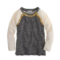 112ae1410792 Girls' embellished baseball sweatshirt - knits & tees - Girl's new  arrivals - J