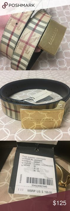 NWT Burberry Men's Belt Brand new with tags. Authentic Burberry Haymarket check men's belt. There are scratches on the gold buckle which is why the price is so low. Size 90 Burberry Accessories Belts