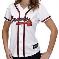 Majestic Atlanta Braves Ladies White Replica Baseball Jersey I'm thinking great V-Day gift! Braves Game, Braves Baseball, Baseball Jerseys, Softball, Atlanta Braves Shirt, Mlb, Chipper Jones, Brave Women, Lady