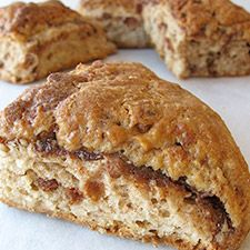 With cinnamon filling and cinnamon chips inside, and cinnamon-scented glaze (or cinnamon-sugar) outside, these moist, aromatic scones are a cinnamon-lover's dream come true.    triple cinnamon scones