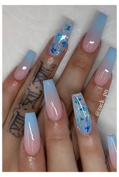 Blue acrylic nails with butterfly nail designs Cute Acrylic Nail Designs, Beautiful Nail Designs, Dope Nail Designs, Acrylic Nail Designs Coffin, Acrylic Nails With Design, Solar Nail Designs, Coffin Nails Designs Summer, Butterfly Nail Designs, Art Designs