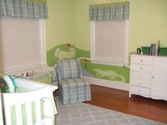 Golf theme decor, plaid fabrics and alligators in a baby boy nursery room in a green, blue and white color scheme.  Cute!