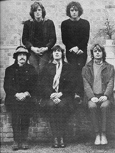 Pink Floyd, circa 1968. From bottom left to right: Nick Mason, David Gilmour, Roger Waters, Syd Barrett, and Rick Wright.