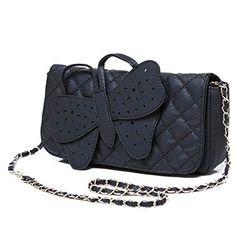 Black Butterffly Womens Shoulder Bag / Clutch Purse w/ Chain Strap