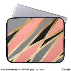 elegant abstract gold foil black grey coral pink computer sleeve