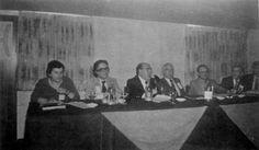 """""""JORNADAS CONMEMORATIVAS Y DE ESTUDIO DEL PLANETA UMMO"""". Alicante, 28 al 30 de marzo de 1980. Evento organizado por el Centro de Investigaciones Metapsíquicas (C.I.M.).  En la foto (de izq. a der.): J. J. Benítez, Antonio J. Alés, Antonio Ribera, Ricardo López, Rafael Farriols, José L. Jordán Peña y Luis Jiménez Marhuenda."""