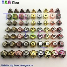 TOP Quality 2016 Hot Metal Dice 7 Dice set d4 d6 d8 d10 d% d12 d20 for Board Games Rpg Dados jogos dnd with boxes for gift