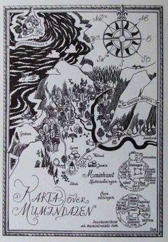 Muumilaakson kartta - Perromania - pieni postikorttikauppa - 0,70e TÄMÄ <3