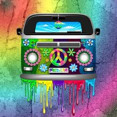 ☮ #Hippie #Van #Dripping #Rainbow #Paint NEW #Art #Print - by #Bluedarkart on #Crated! ☮  https://crated.com/art/158262/hippie-van-dripping-rainbow-paint-by-bluedarkart?product=PO&size=12%7C12