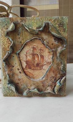 Wooden box with clay, metallic and oil colours