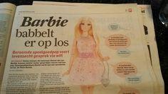 Een robot barbie. Het moet niet gekker worden.  Algemeendagblad 19 februari  2015