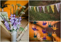 flowers, bunting and cranes