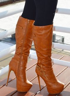 Brown leather  Knee High heel boots bCstyle#shoes fetish