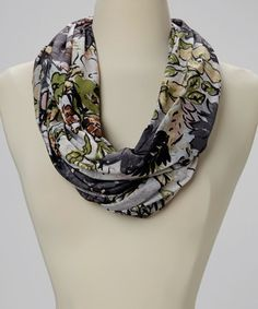 Charcoal Floral Infinity Scarf #zulily #zulilyfinds. This will look great paired with my gray page boy jacket.