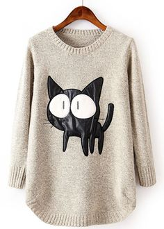 Beige Long Sleeve Contrast PU Leather Cat Pattern Sweater $33.44 from Sheinside (onesize)