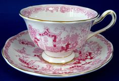 Royal Albert Vintage Mikado Pink Cup And Saucer English 1930s Willow Variation