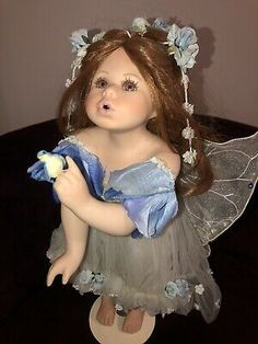 Skye Fairy Angel Porcelain Doll By Florence Maranuk  | eBay Porcelain Dolls For Sale, Reborn Toddler Dolls, Baby Fairy, Bride Dolls, Fairy Dolls, Native American Indians, Blue Bird, Florence, Flower Girl Dresses