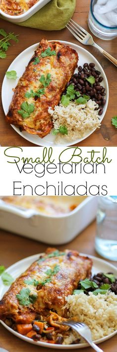 Small Batch Sweet Potato and Black Bean Enchiladas - the perfect dinner for two! | TheRoastedRoot.net #healthy #vegetarian #recipe