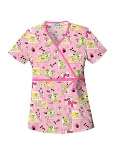 Scrub H.Q. by Cherokee Women's Mock Wrap Print Scrub Top #Dog #Pink #Scrubs