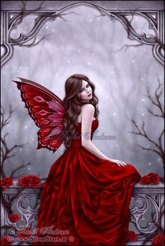 Winter Rose Fairy Art Print 5x7.