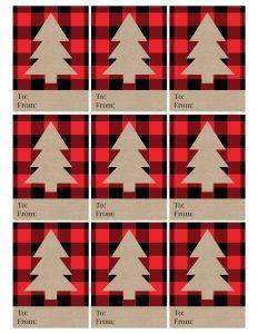 Rustic Plaid Christmas Tags Free Printable - Paper Trail Design