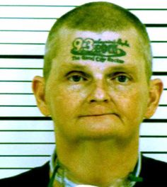 "Iowa's David Jonathan Winkelman, 48, was arrested on a warrant for failing to appear in court. He went to a tattoo parlour after a KORB radio station disc jockey offered listeners a six-figure payout if they tattooed the FM station's call letters and logo on his forehead - ""93 Rock"" and ""Quad City Rocker."" Ouch!"